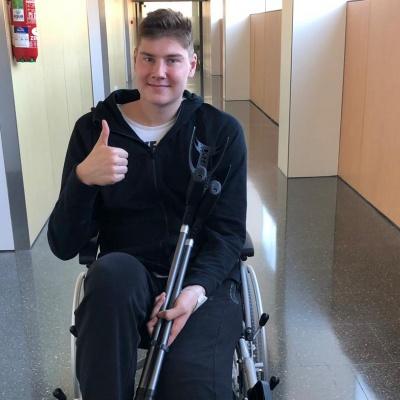 Simon Birgander, després de l'operació